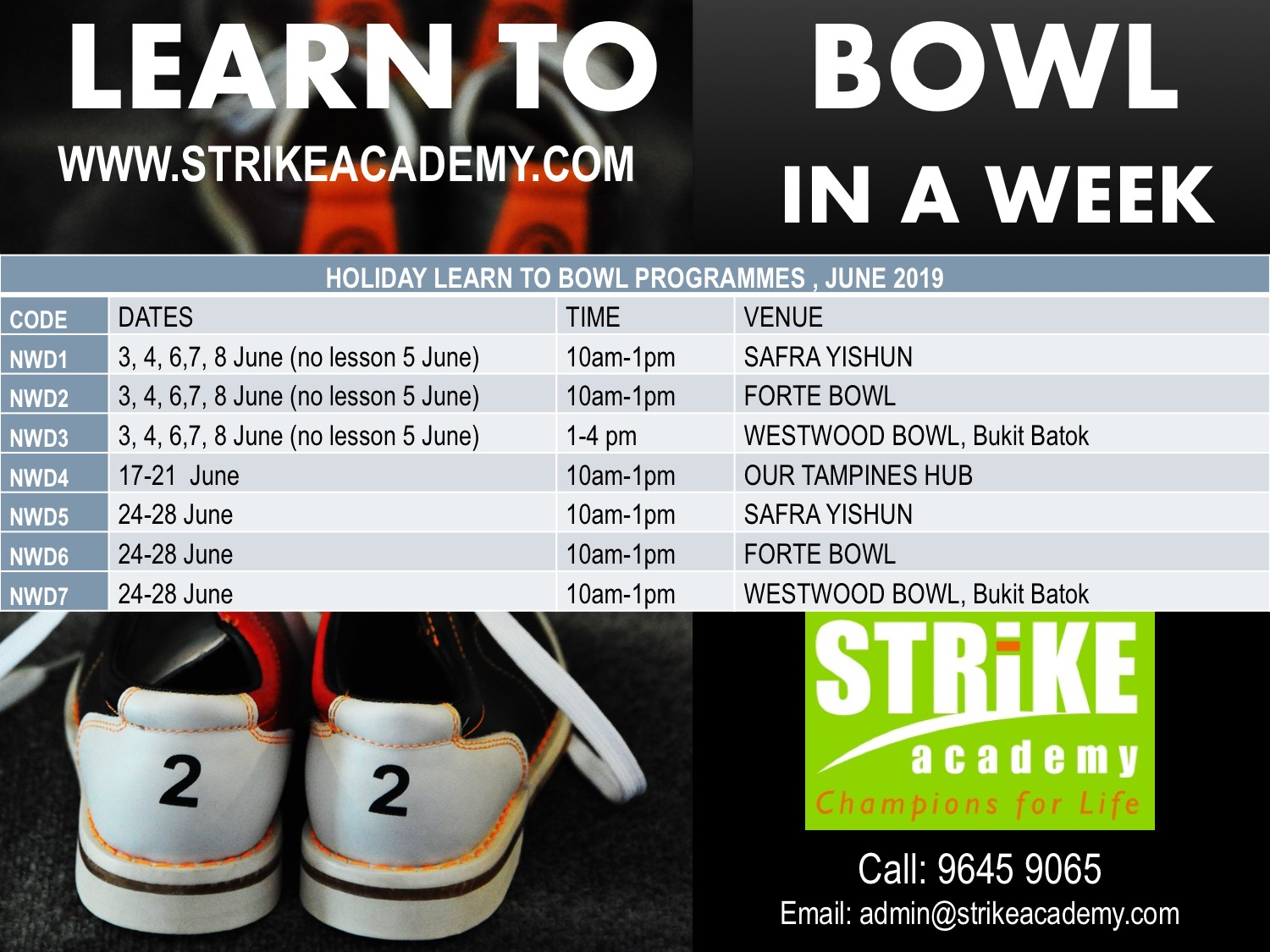 bowling lessons beginners kids children Singapore